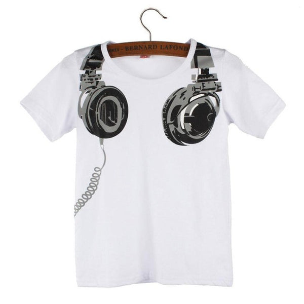 Boy Kids Cotton Tops Casual Print 3D Headphone T-shirt Spring Summer O-Neck fashion Short Sleeve blouses Shirt for 2-6yrs