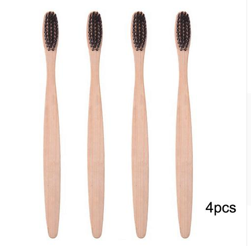4x Wooden Bamboo-handle ToothBrushes Soft Fibre (White, Rainbow, Black)