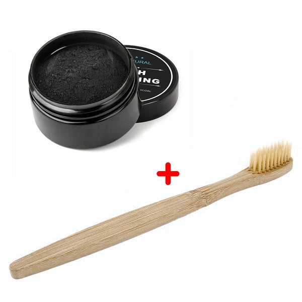100% Natural Teeth Whitening Whitener Activated Organic Charcoal Powder Polish Teeth Clean Strengthen Enamel + Wood Toothbrush