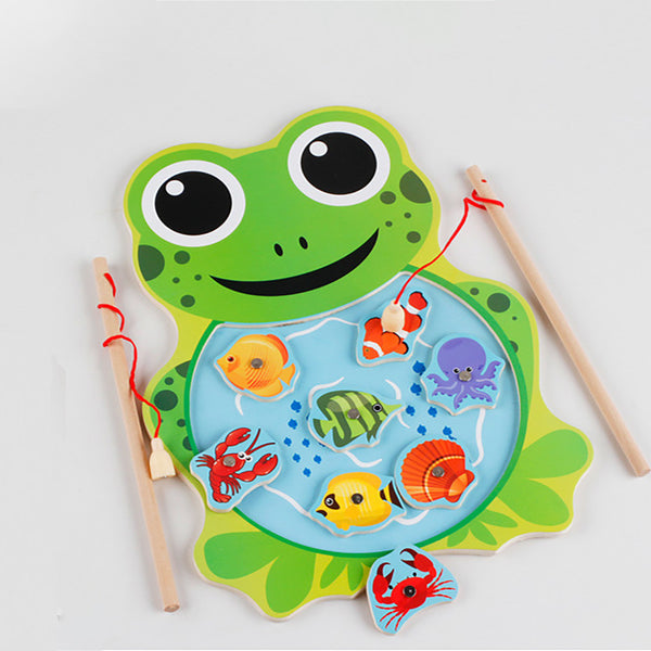 Baby Kids Wooden Toys Magnetic Fishing Game Jigsaw Puzzle Board