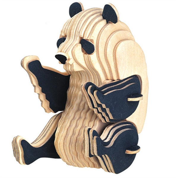 3D Wooden Puzzles Animal Panda Educational Toy for Kids and Adults