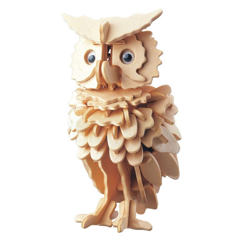 3D Wooden Puzzles Animal Owl Educational Toy for Kids and Adults