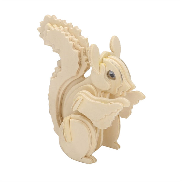 3D Wooden Puzzles Animal Squirrel Educational Toy for Kids and Adults