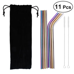 11x Stainless Steel Drinking Straws with 2 Brushes and A Black Cloth Bag