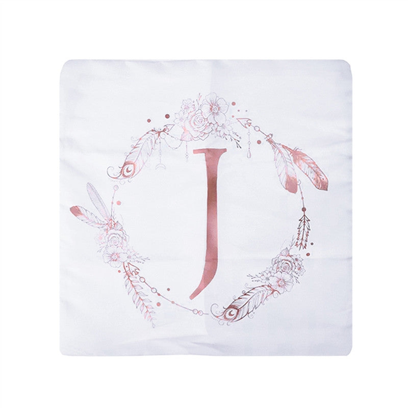 Soft Throw Pillow Case Letter J Printed Cushion Cover Pillowcase for Home Sofa Decoration 45x45cm