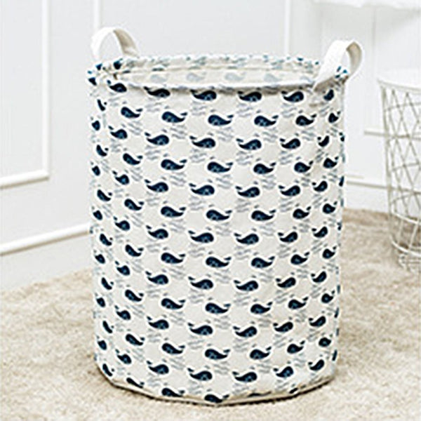 Cartoon Printed Cotton Linen Storage Basket Sundries Dirty Clothes Container