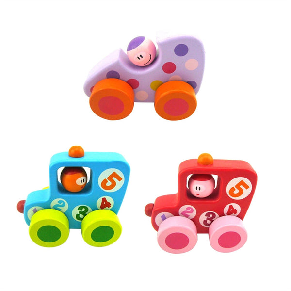 3x Wooden Car Toys Early Explorer Gift for Kids