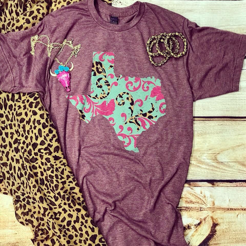 Leopard and Swirl Texas T-shirt