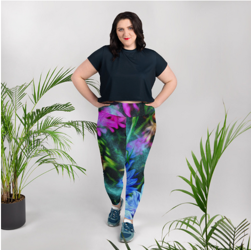 Leggings, plus size - Florals: Cornflower Party by Night by Lidka Schuch