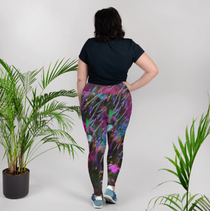 Leggings, plus size - Florals: Phlox Party by Night by Lidka Schuch