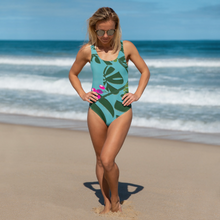 One-Piece Swimsuit - Tropical: Weaving Monstera in Blue by Lidka Schuch