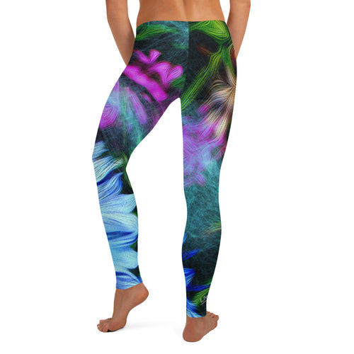 Leggings, Classic Cut - Florals: Cornflower Party by Night by Lidka Schuch
