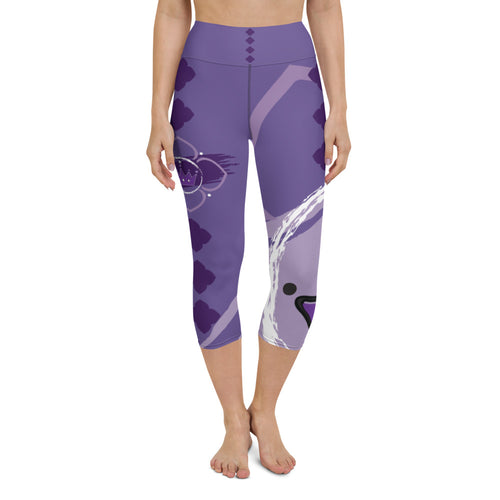 Capri Leggings, Yoga Cut - Chakra Magic: Crown Chakra by Mona Idriss