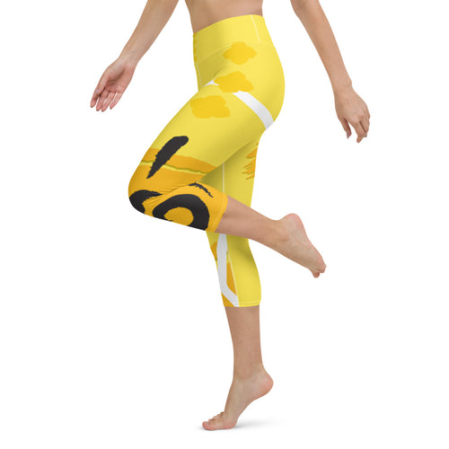 Capri Leggings, Yoga Cut - Chakra Magic: Solar Plexus Chakra by Mona Idriss