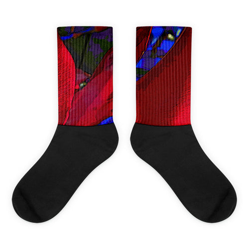 Socks, Unisex - Florals: Mandevilla RED by Lidka Schuch (LMS)
