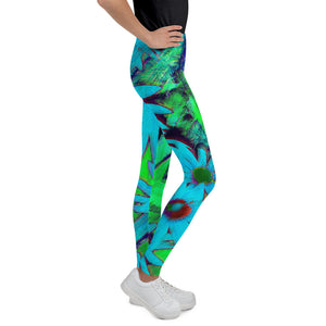 Tween's & Teen's Leggings - Florals: Blue Green Susans by Lidka Schuch