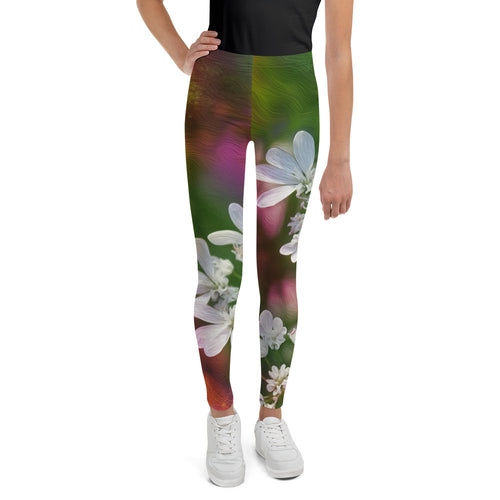 Tween's & Teen's Leggings - Florals: Cilantro Splash by Lidka Schuch