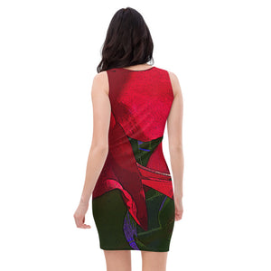 Bodycon | Fitted Dress - Florals: Mandevilla Red by Lidka Schuch