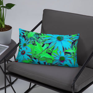 Basic Pillow - Florals: Blue Green Susans by Lidka Schuch