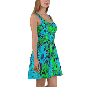 Skater Dress - Florals: Blue Green Susans by Lidka Schuch