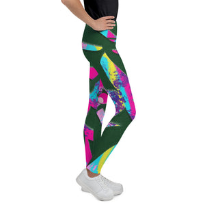 Tween's & Teen's Leggings - Tropical: Vivid Monstera by Lidka Schuch