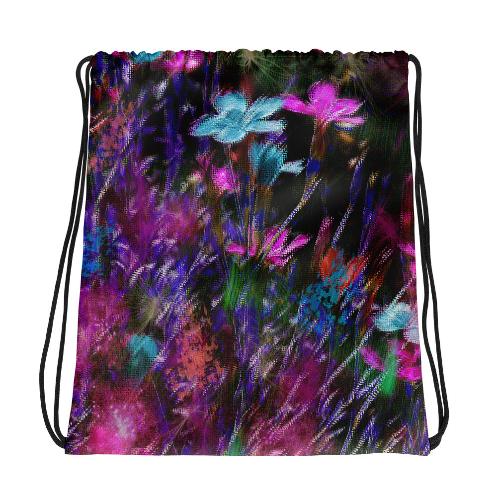 Drawstring Bag - Florals: Phlox Party by Night by Lidka Schuch