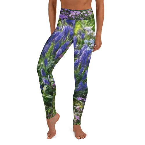 Leggings, Yoga Cut - Florals: Friends of Grape Hyacinth by Lidka Schuch