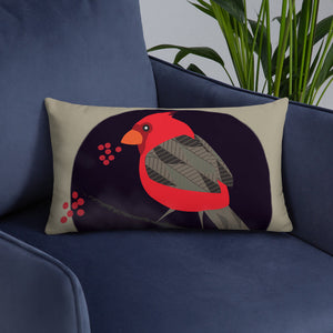 Basic Pillow - Tweet This: Cardinal Song in Taupe by Lidka Schuch