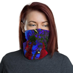 Neck Gaiter - Florals: Mandevilla Red by Lidka Schuch (LMS)