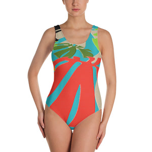 One-Piece Swimsuit - Tropical: Happy Monstera by Lidka Schuch