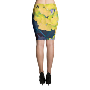 Pencil Skirt - Florals: Yellow Hydrangea by Lidka Schuch