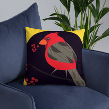 Basic Pillow - Tweet This: Cardinals Song in Yellow by Lidka Schuch