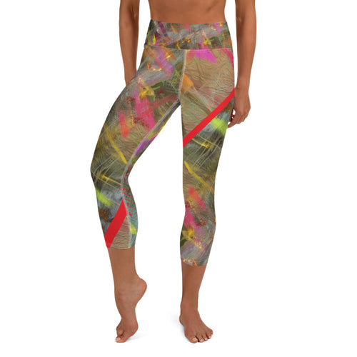 Capri Leggings, Yoga Cut - Wrapped in Trees: Spring Mambo Red by Lidka Schuch