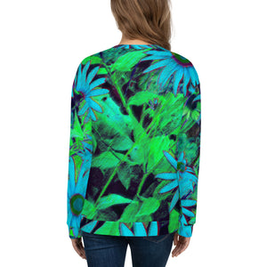 Sweatshirt, Unisex - Florals: Blue Green Susans by Lidka Schuch