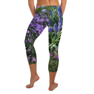 Capri Leggings, Classic Cut - Florals: Friends of Grape Hyacinth by Lidka Schuch