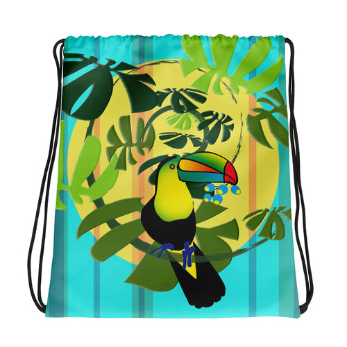 Drawstring Bag - Tropical: Spiral Toucan by Lidka Schuch