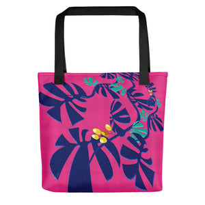Tote Bag - Tropical: Weaving Monstera in Hot Pink by Lidka Schuch