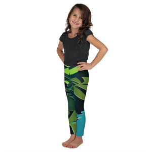 Kid's Leggings - Tropical: Spiral Monstera by Lidka Schuch