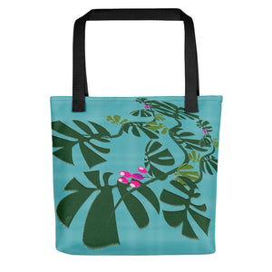 Tote Bag - Tropical: Weaving Monstera in Blue by Lidka Schuch