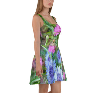 Skater Dress - Florals: Cornflower Party by Lidka Schuch