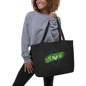 Large Cotton Tote Bag - Chakra Magic: Heart Chakra by Mona Idriss