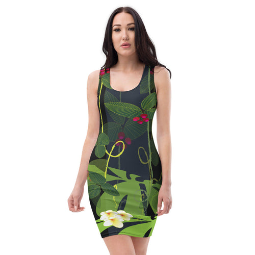 Bodycon | Fitted Dress - Tropical: Jumgle Garden by Lidka Schuch