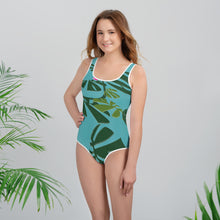 Tween's & Teen's Swimsuit - Tropical: Weaving Monstera in Blue by Lidka Schuch