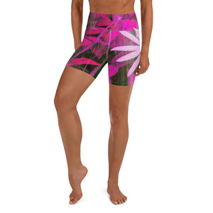 Yoga Shorts - Florals: Very Pink Susans by Lidka Schuch