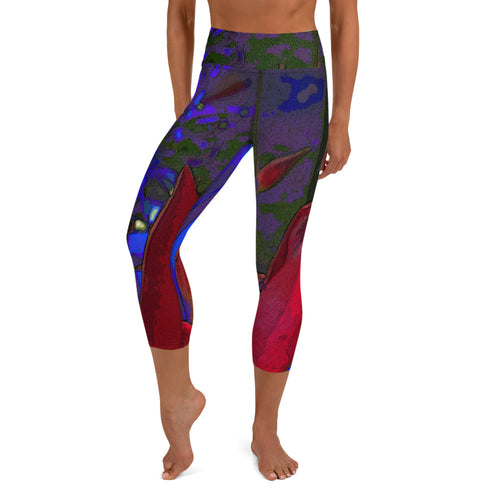 Capri Leggings, Yoga Cut - Florals: Mandevilla Red by Lidka Schuch