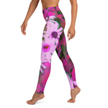 Leggings, Yoga Cut - Florals: Very Pink Susans by Lidka Schuch
