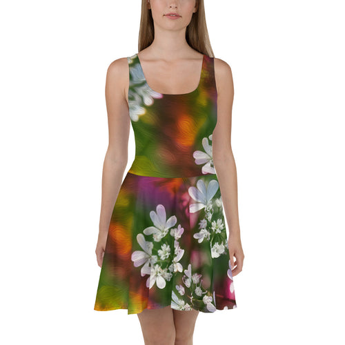 Skater Dress - Florals: Cilantro Splash by Lidka Schuch
