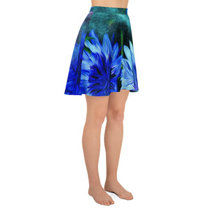 Skater Skirt - Florals: Cornflower Party by Night by Lidka Schuch