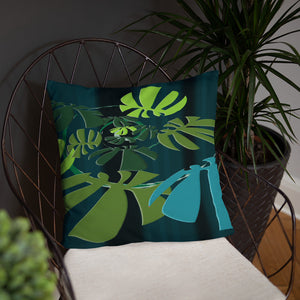 Basic Pillow - Tropical: Spiral Monstera by Lidka Schuch