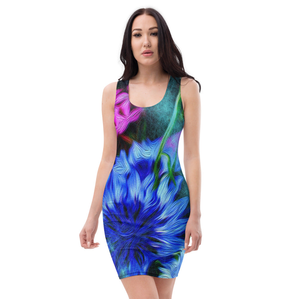 Bodycon | Fitted Dress - Florals: Cornflower Party by Night by Lidka Schuch